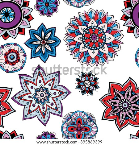 Seamless pattern texture. Indian, arabic, turkish style elements. Vintage vector card. Hand drawn doodle illustration. Floral pattern.
