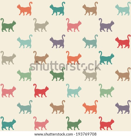 Seamless pattern. Texture with colorful cats curved tails.
