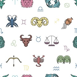 Seamless pattern texture with zodiac signs on white background, vector illustration in doodle style. Endless backdrop with astronomy constellations colorful symbols.
