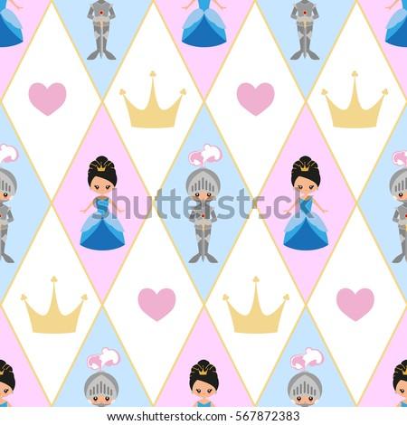 seamless pattern the princess