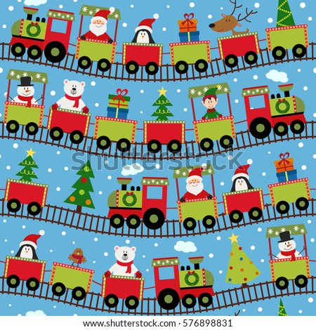 seamless pattern train with