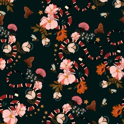 Seamless pattern ,Trendy snake with flowers graphic design vector of floral for fashion,t-shirt ,and all prints on dark green background