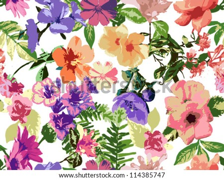 seamless pattern. tropical flowers, beautiful floral background,grunge neon touch pattern