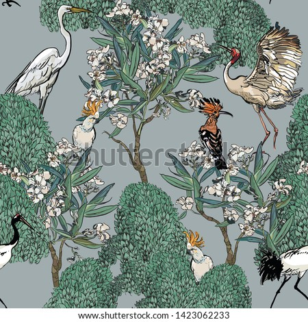 Seamless Pattern Tropical Forest Blooming Trees Jungle with Exotic Birds Cranes, Hoopoe and Parrots Cockatoo Spring White Flower Beautiful Illustration on Blue Background Faded Colors