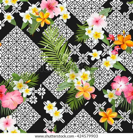Seamless Pattern. Tropical Leaves and Flowers Background. Floral Ornament. Exotic Flowers. Vector Background. Floral Texture. Floral Wallpaper.