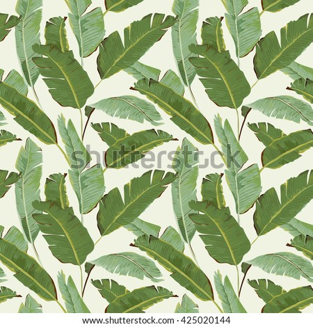 Seamless Pattern. Tropical Palm Leaves and Flowers Background. Banana Leaves. Banana Flowers. Vector Background. Tropical Background. Exotic Flowers Texture. Floral Wallpaper.