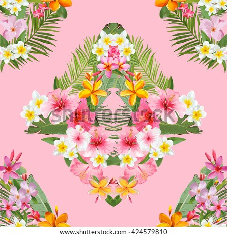 Seamless Pattern. Tropical Palm Leaves and Flowers Background. \  Vector Background. Exotic Flowers Texture. Floral Wallpaper.