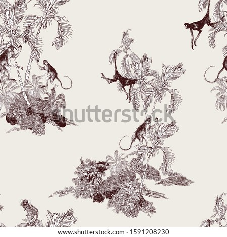 Seamless Pattern Tropical Plants Palms with Monkey Animals, Hawaiian Design, Etching Drawing, Wildlife on Banana Trees, Isolated Islands Groups of Trees, Brown on Beige Background Engraving Lithograph