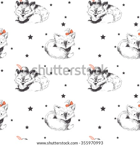 seamless pattern  two foxes...