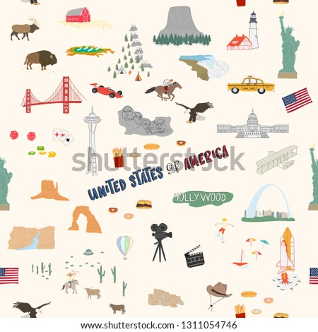 Seamless pattern USA doodles hand drawn Background.printing wallpaper.vector illustration