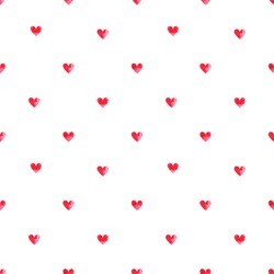 Seamless pattern. Vector abstract background. Small pink watercolor hearts on white background.