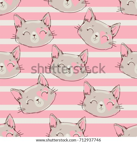 seamless pattern vector  cat