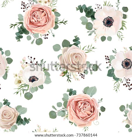 Seamless pattern Vector floral watercolor style design: garden powder white pink Anemone flower silver Eucalyptus branch green thyme wax flowers greenery leaves. Rustic romantic background print