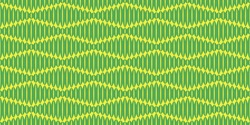 Seamless pattern vector illustration. Tiled green ornamental images. Elliptical shapes, yellow background. Parallelogram crosswise texture. Graphic pattern for fabric, textile, wallpaper, packaging.