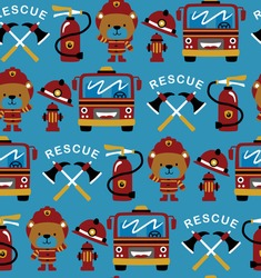 Seamless pattern vector of firefighter theme cartoon with funny fireman