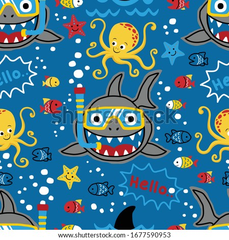 seamless pattern vector of marine animals cartoon. Diving with shark and others marine animals