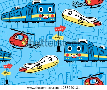 Seamless pattern vector with funny transportations cartoon