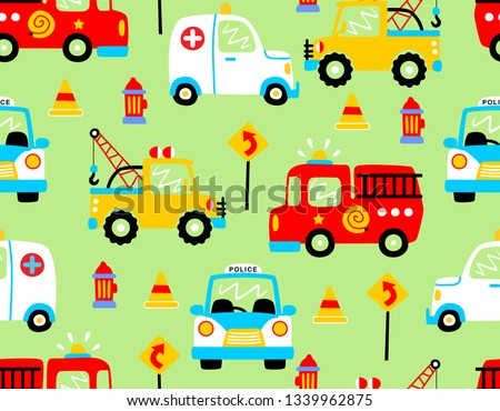 seamless pattern vector with rescue vehicles cartoon