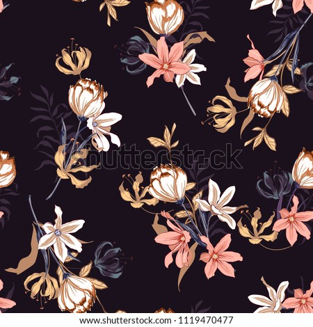 Seamless pattern vector with tulips flowers. Hand drawing illustration with wild floral for fashion , fabric, and all prints on dark purple background colors.