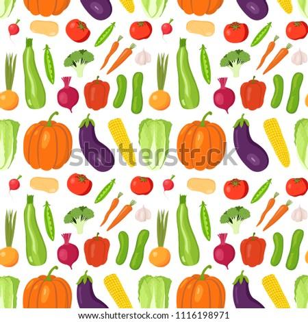 Seamless pattern vegetable on white background. Potato, carrot, onion, garlic, radish, beet, eggplant, zucchini, pumpkin, cucumber, tomato, corn, cabbage, broccoli, pepper, peas. Hand drawing. Vector.