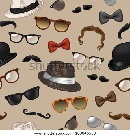 Seamless pattern - vintage style accessories(sunglasses/eyeglasses/fedora hats/mustaches/bow ties) on beige background - vector illustration.