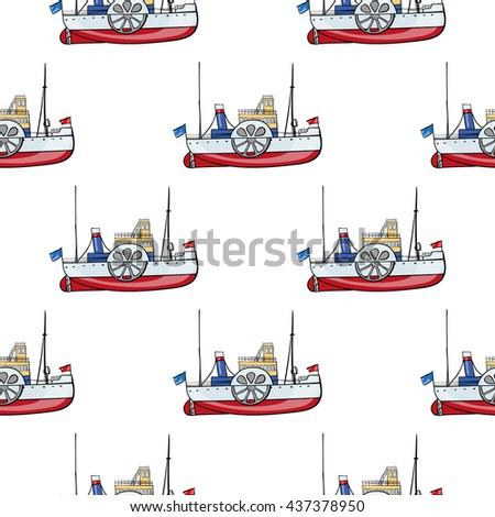 seamless pattern water transpor. kids toy steamship