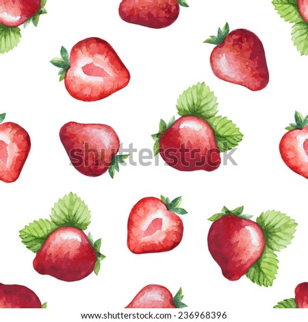 Seamless pattern, watercolor fruit, strawberry. Vector illustration.