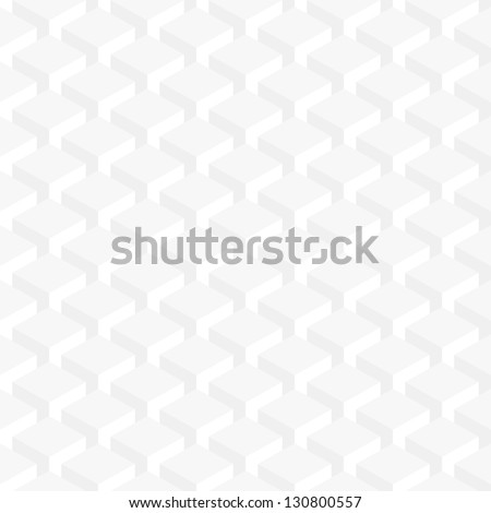 Seamless pattern white background. Retro old wallpaper with repetition geometric shape. Light gray surface with 3-D effect cubes in perspective. Vector illustration clip-art web design elements 8 eps