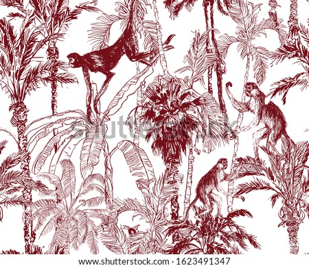 Seamless Pattern Wildlife Animals in Tropical Jungle Groups, Monkeys Jumping on Banana Palm Trees, Lithography Etching Illustration, Toile Textile Design, Brown on White Background