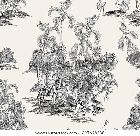 Seamless Pattern Wildlife Animals Tigers and Crane Birds in Palm Bushes, Tropical Islands, Toile Hand Drawn Etching, Realistic Jungle, Monochrome Textile Design, Hand Drawn Etching