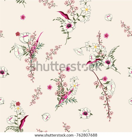 Seamless Pattern wind blow flowers,  Isolated on pinkcolor. Botanical Floral Decoration Texture. Vintage Style Design for Fabric Print, Wallpaper Background.