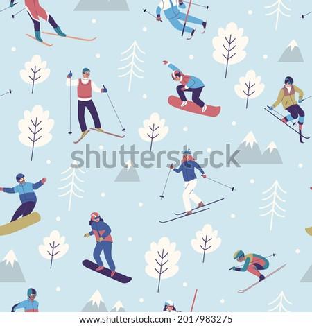 seamless pattern winter sports