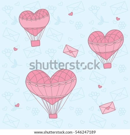 Seamless pattern with a balloon in the form of heart. Background for greeting cards, scrapbooking, print, gift wrap, manufacturing, fabric. Valentine's Day. #546247189