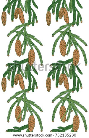 seamless pattern with a branch of pine tree and cones on white background