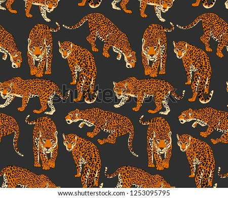 Seamless pattern with a different wild Jaguars on a dark background. Textile composition, hand drawn style print. Vector illustration.