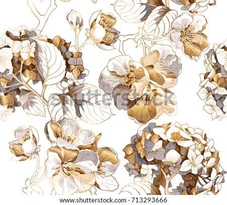 Seamless pattern with a gold Hydrangea and Cherry flowers. Vector illustration.