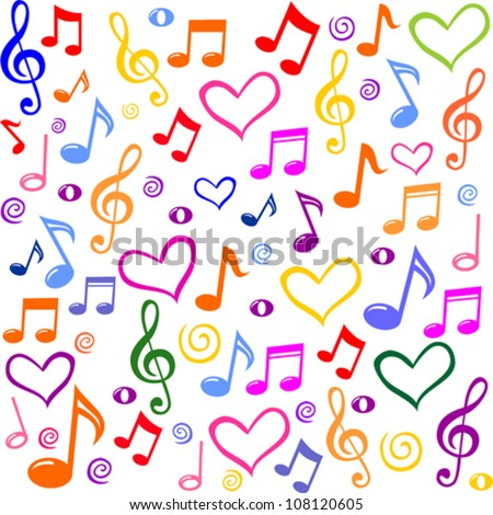 Seamless pattern with a music notes. Vector Illustration