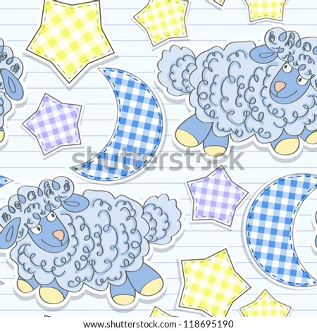Seamless pattern with a sheep