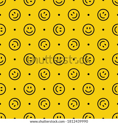 Seamless pattern with a smiling face. Emoji background. Smile line icon texture. Vector illustration