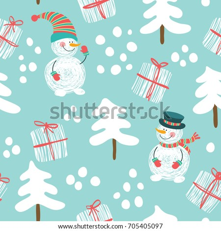 seamless pattern with a snowman ...