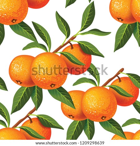 Seamless pattern with a sprig of tangerines and leaves