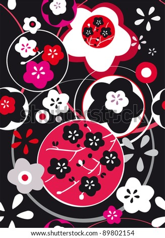 seamless pattern with abstract color leaf  in japan style