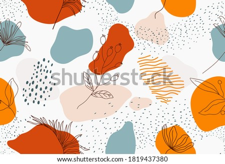 Seamless pattern with abstract flowers and leaf. Creative floral surface design. Vector background Photo stock ©