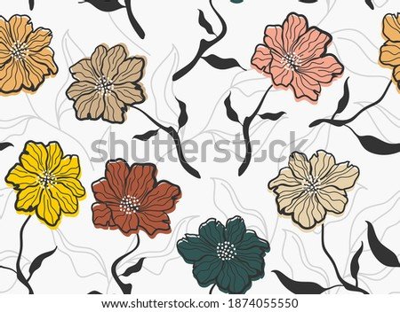 Seamless pattern with abstract flowers and leave. Creative floral surface design. Vector background Photo stock ©
