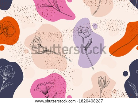 Seamless pattern with abstract flowers. Creative floral surface design. Vector background Photo stock ©