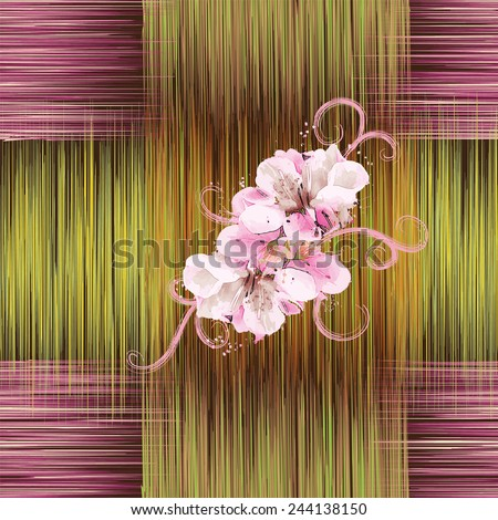 Seamless pattern with abstract flowers in white,pink colors on grunge striped background