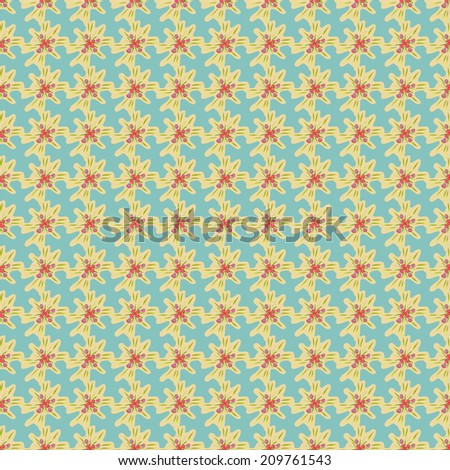 Seamless pattern with abstract flowers small, equally spaced from each other