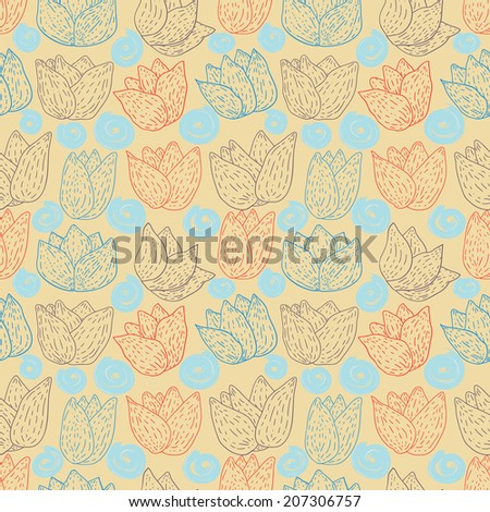 Seamless pattern with abstract flowers small muted tones