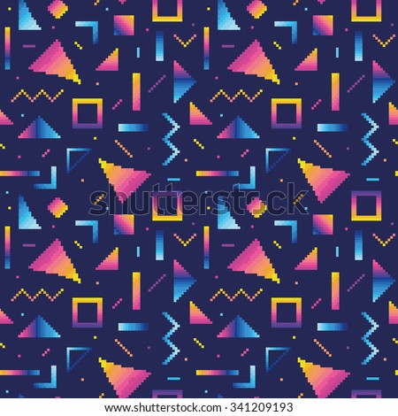 Seamless pattern with abstract geometric shapes in pixel art style 2