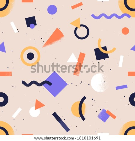 Seamless pattern with abstract geometrical shapes. Trendy colorful retro background with geometric figures. Stylish wallpaper or fabric print. Flat vector textured repeatable backdrop Stockfoto ©